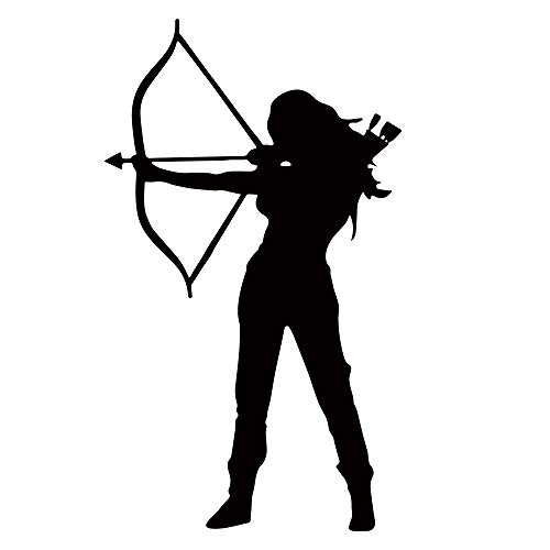 Archery Vinyl Decal Sticker Hunting Bow And Arrow Woman Warrior Laptop Wall Decor