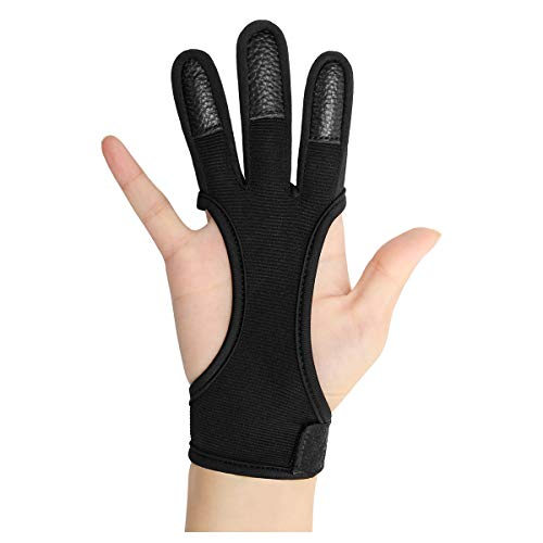 Coolrunner Archery Glove Three Finger Leather Archery Protective Gloves Archery Shooting Gloves for...