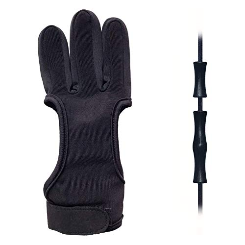 EAmber Archery Shooting Gloves,Three Finger Durable Cow Leather Protective Archery Gloves for...