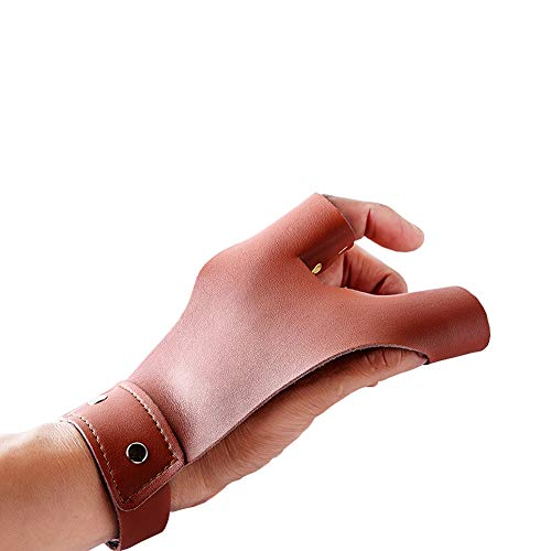 Nachvorn Two Fingers Archery Traditional Longbow Protective Glove Hunting Hand Protector Guard Brown