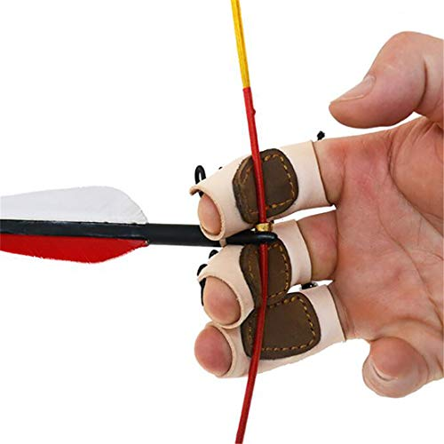 3PCS Archery Gloves Bow Finger Tab Leather Tradition Recurve Bow American Hunting Bow Hand Guard...