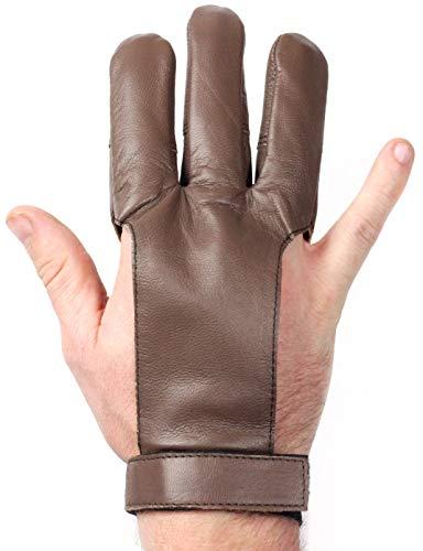 Striker Bows Brown Three Finger Archery Gloves Genuine Leather Handmade (Medium)
