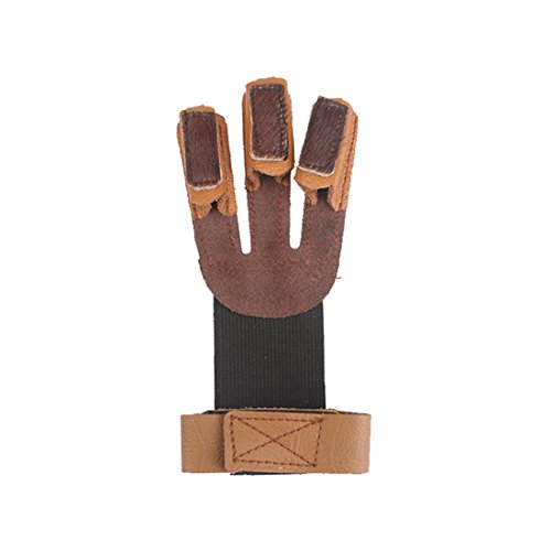 Krayney Adult Youth Archery Leather Gloves Finger Protector Shooting Hunting Arrow Bow Archery...