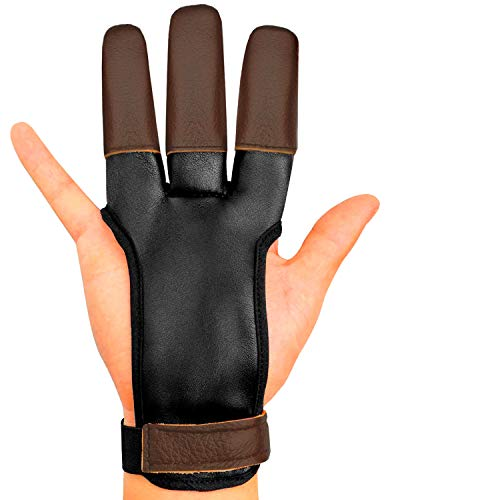 KESHES Archery Glove Finger Tab Accessories - Leather Gloves for Recurve & Compound Bow - Three...