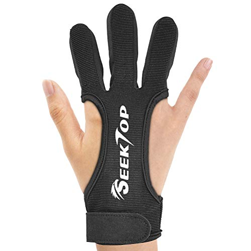JKER TECH Archery Gloves Shooting Hunting Leather Three Finger Protector for Youth Adult Beginner -...