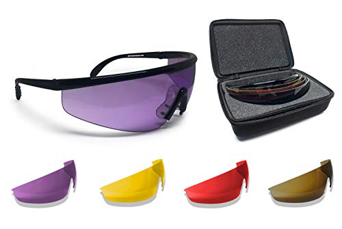 Bertoni Shooting Glasses with 4 Interchangeable Lenses and Carrying Case – AF899 by Bertoni Italy...