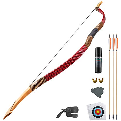 KAINOKAI Traditional Handmade Longbow Horsebow Hunting Recurve Archery Bow Recurve Bow Set (Red...