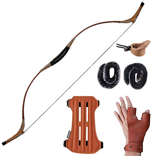 Huntingdoor Handmade Recurve Archery Bow Hunting Longbow Mongolian Traditional Horsebow 30-60LBS...