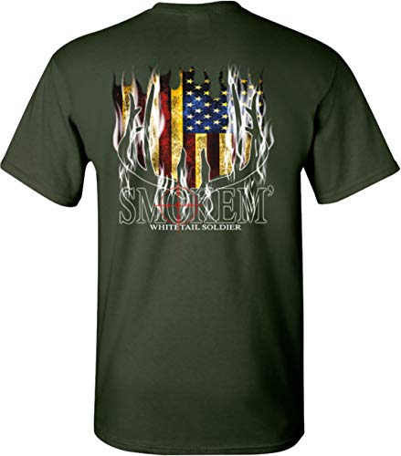 Smokem' Whitetail Soldier Deer Hunting T-Shirt Men's (Small, Forest Green)
