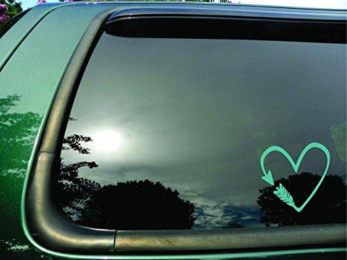 Arrow Heart- Die Cut Teal Vinyl Window Decal/sticker for Car or Truck, Laptop