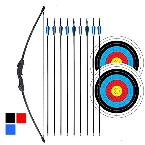 iMay 45' Recurve Bow and Arrows Set Outdoor Archery Beginner Gift Longbow Kit with 9 Arrows 2 Target...