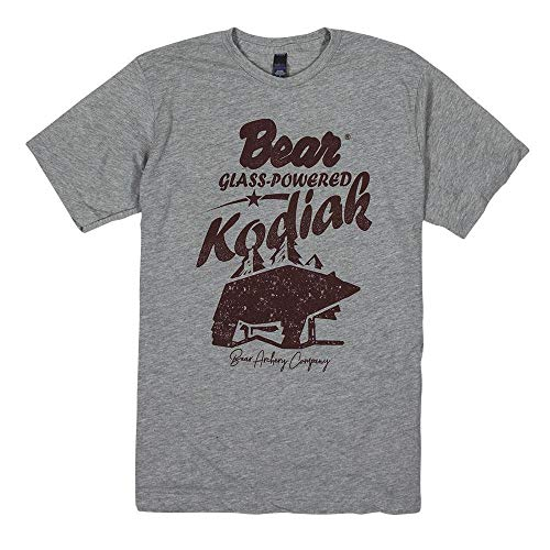 Bear Archery Retro Kodiak Tee Shirt Hunting, Wildlife & Outdoor T Shirt (Grey, M)