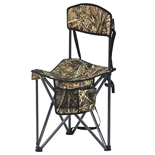 PORTAL Extra Large Quick Folding Tripod Stool with Backrest Fishing Camping Chair with Carry Strap...