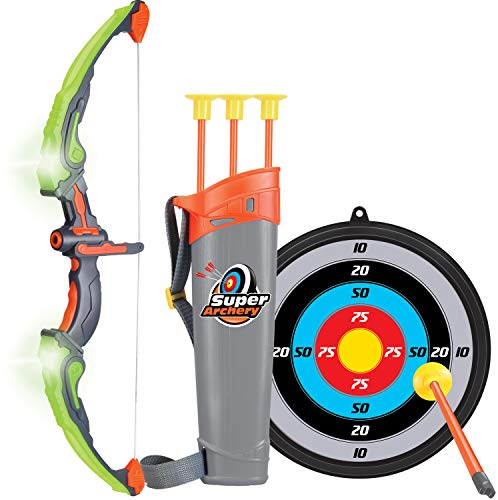 Click N' Play Light Up Bow & Arrow Archery Set Outdoor Hunting Play with 3 Suction Cups Arrows...