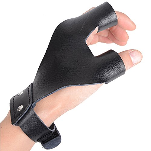 XTACER Left Hand Guard Leather Glove Archery Finger Protector Traditional Shooting Glove Fits for...