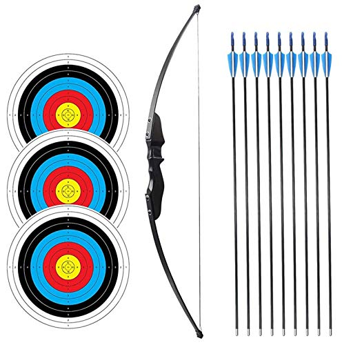 SinoArt 54' Long Bow for Right Handed 30 LBs Draw Weight Archery Bow Shooting LARP Hunting Game with...