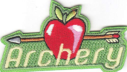 'ARCHERY' w/APPLE & ARROW - Iron On Embroidered Patch/Sport, Games, Competition