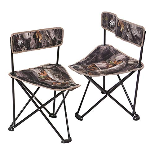 REDCAMP 2-Pack Tripod Hunting Chairs for Blinds, Portable Folding Hunting Stool with Back, Camo...