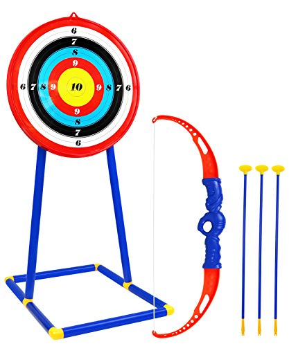 Kiddie Play Bow and Arrow for Kids Toy Archery Set with Target and Suction Cup Arrows